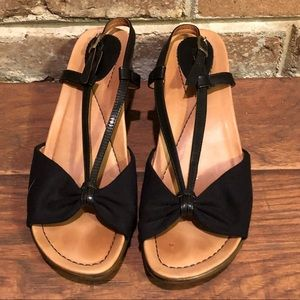 Dansko Black Wedge Sandals
